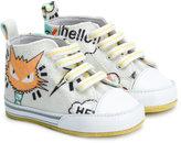 Fendi cat motif hi-top sneakers - kids - Cotton/Calf Leather/Leather - 17