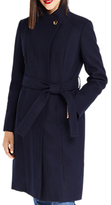 Oasis Leahana Long Funnel Neck Coat, Navy