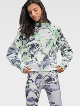 DKNY Women's Marble Print Oversized Pullover With Side Slits - Spearmint - Size XL