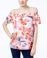 INC International Concepts Petite Floral-Print Lace Off-The-Shoulder Top, Only at Macy's
