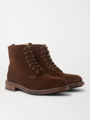 Dunhill Country Suede Brogue Boots