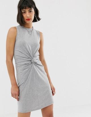 Noisy May twist front jersey mini dress in grey