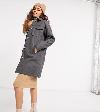 Vero Moda Petite longline shacket in dark grey