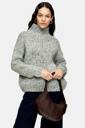 Topshop Mint Knitted Chunky Funnel Neck Jumper