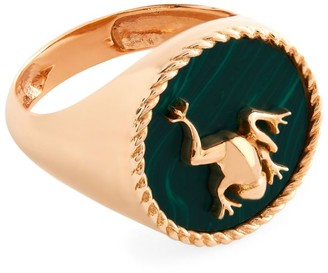 Cédille Cedille Rose Gold and Malachite Into the Wild Signet Ring