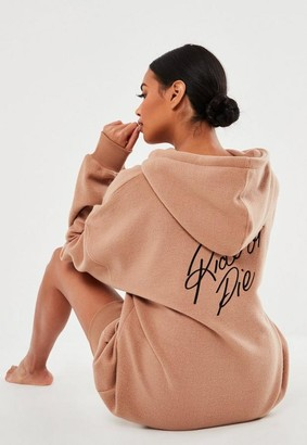 Missguided Camel Ride Or Die Loungewear Hoodie Dress