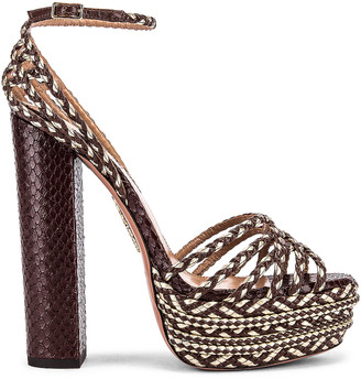Aquazzura Cozumel Snake Print 140 Plateau Sandal in Chocolate & Platino | FWRD