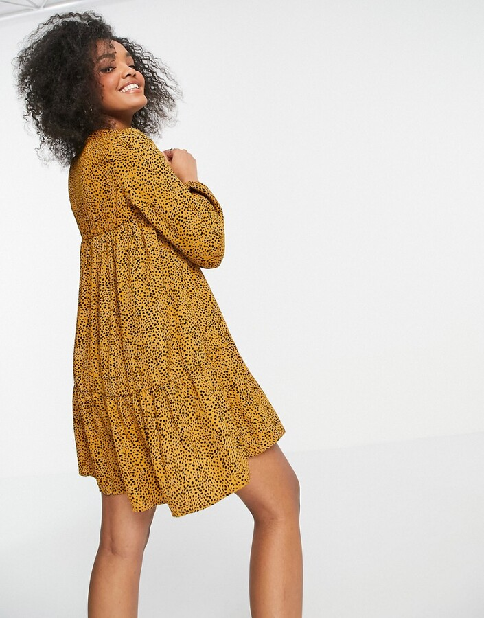 Thumbnail for your product : Qed London smock dress in leopard print