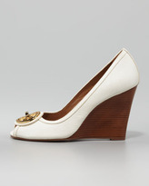 Tory Burch Selma Open-Toe Logo Wedge, White