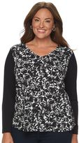 Croft & Barrow Plus Size Printed High-Low Hem Top