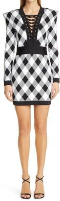 Balmain Gingham Jacquard Long Sleeve Sweater Minidress