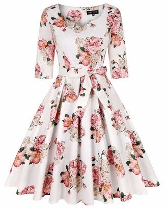 MINTLIMIT Women Floral Print Vintage Prom Dress Sweetheart 1950s Retro Evening Party Dress (Floral Light Brown Size XXL)