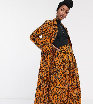 Verona maxi duster jacket in abstract print-Orange