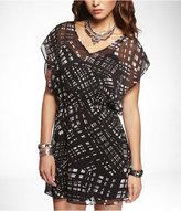 Express Plaid Chiffon Elastic Waist Dress