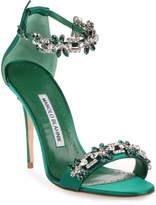 Manolo Blahnik Firadou 105 emerald crystal sandal
