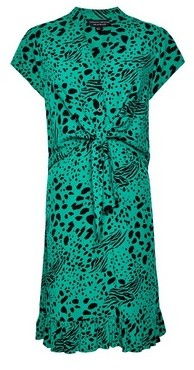 Dorothy Perkins Womens Green Animal Print Tie Front Shirt Dress, Green