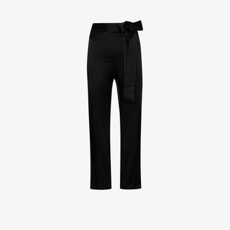 USISI SISTER Gemma tie waist cropped flare trousers