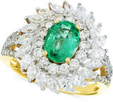 RARE Featuring GEMFIELDS Certified Emerald (9/10 ct. t.w.) and Diamond (1-5/8 ct. t.w.) Ring in 14k Gold