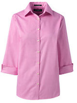 Lands' End Women's 3/4 Sleeve Pattern Broadcloth Dress Shirt-Light Hyacinth