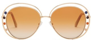 Chloé Delilah Double-rim Aviator Sunglasses - Womens - Brown Gold