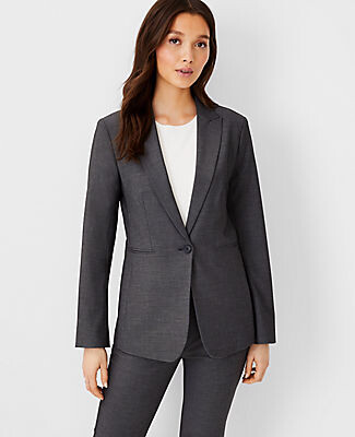 Ann Taylor The Long One-Button Blazer in Bi-Stretch