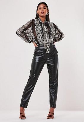 Missguided Black Faux Leather Cigarette Pants