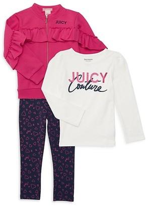 Juicy Couture Little Girl's 3-Piece Jacket, Top Pants Set