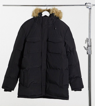 Good For Nothing double layer parka with faux fur hood in black