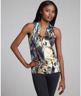 Tahari black and blue printed v-neck 'Marcy' sleeveless blouse