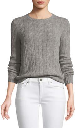 Ralph Lauren Long-Sleeve Crewneck Cashmere Cable-Knit Sweater