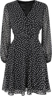 Wallis PETITE Black Polka Dot Wrap Dress