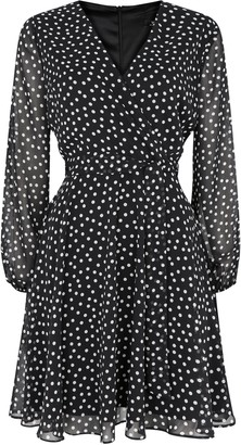 Wallis PETITE Black Polka Dot Wrap Dress