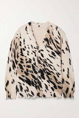 R13 - Distressed Cheetah-print Cotton Cardigan - Leopard print