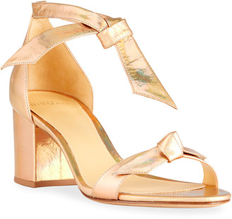Alexandre Birman Clarita Metallic Ankle-Tie Sandals