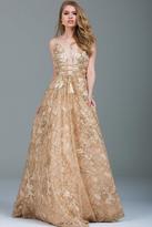 Jovani 51165 Plunging Gold Embellished Evening Gown
