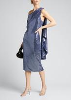 Badgley Mischka Sequin One-Shoulder Cocktail Dress