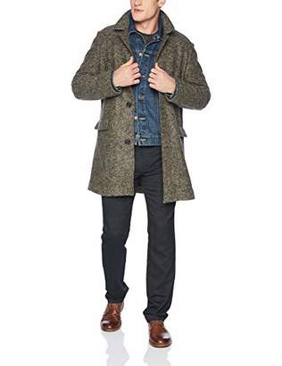 Billy Reid Men's Single Breasted Lancaster Car Coat with Leather Details