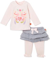 Magnificent Baby Pink Lovebirds Magnetic Closure Tee & Skirted Leggings - Infant
