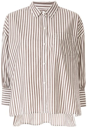 Nili Lotan Striped 3/4 Sleeve Shirt