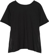 MM6 MAISON MARGIELA Open-back Cotton-jersey And Washed-satin Top - Black