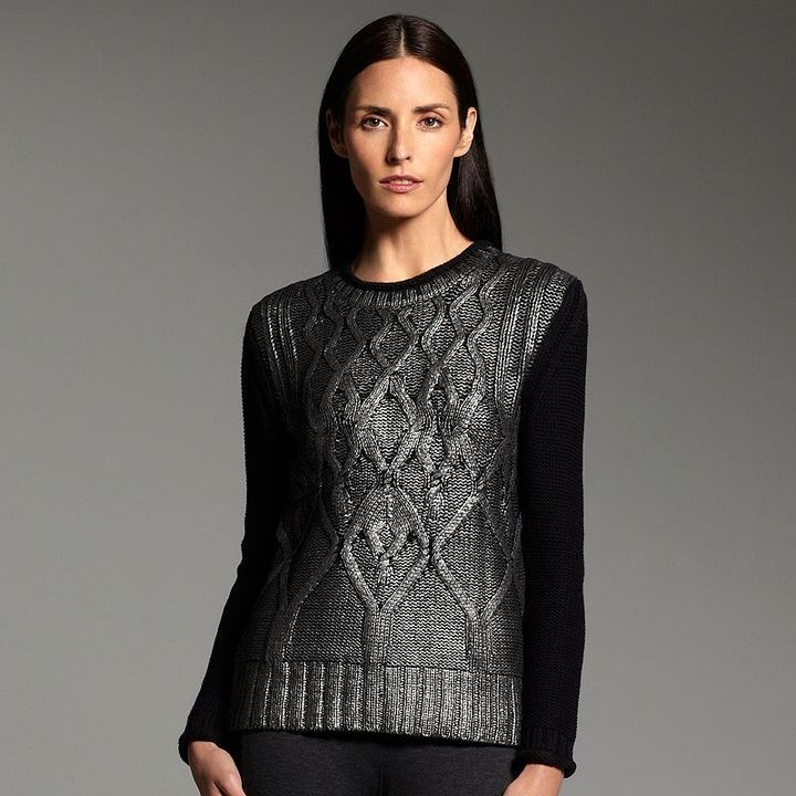 Narciso Rodriguez for designation foil cable-knit sweater