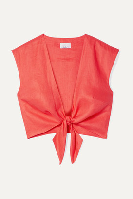 Miguelina Marcy Cropped Tie-front Linen Top - Tomato red