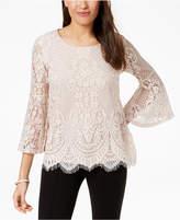 Alfani Lace Lantern-Sleeve Top, Created for Macy's