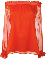 P.A.R.O.S.H. off-shoulders sheer blouse - women - Silk/Polyester - M