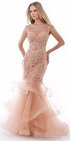 Morrell Maxie Dazzling Scroll Beaded Cutout Tiered Mermaid Gown