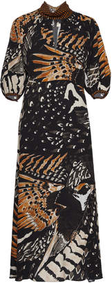 Temperley London Rosella Bird Printed Cut-Out Crepe Dress