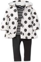 Little Me 3-Pc. Hooded Dot-Print Jacket, Striped T-Shirt & Leggings Set, Baby Girls