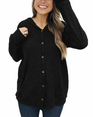YOINS Women Knit Cardigans Sweater Long Sleeve Casual Plain Knitted Button Open Front Top V Neck Loose Tunic Blouse Open Front~Black L