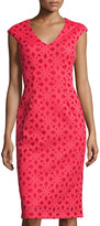 Maggy London Pique Floral-Print Sheath Dress, Tulip Red