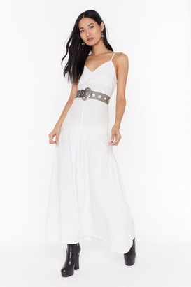 Nasty Gal Womens V Into You Linen Maxi Dress - white - 8